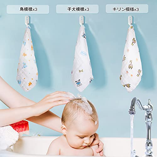 Lictin ガーゼハンカチ ガーゼタオル 6枚ベビービブ 新生児 綿100% 吸水ベビー用品 再利用可能(25*25cm)
