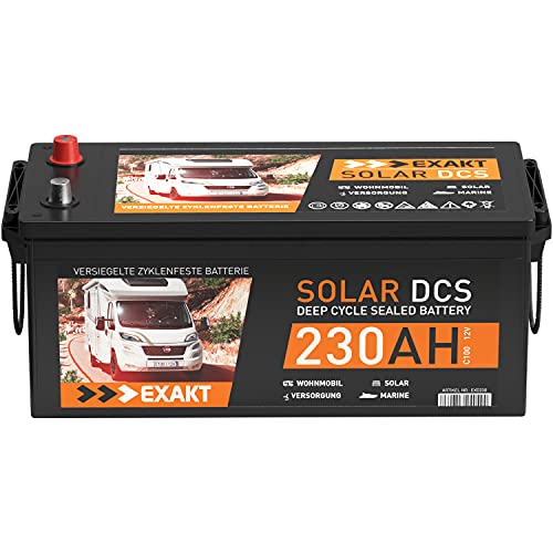 Solarbatterie 12V 230Ah EXAKT DCS Wohnmobil Versorgung Boot Solar Batterie ersetzt 200ah 220Ah