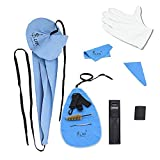 Saxophone Cleaning Kit, 10-in-1 Cleaning Cloth + Mouthpiece Brush + Gloves + Sax Neck Strap Maintenance Tool for Clarinet(Blue)