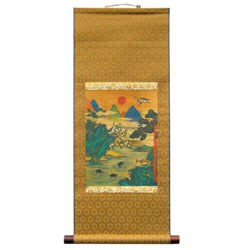 Ten Creatures of Longevity Symbols Scroll Hanging Wall Art Interior Decor Handmade Asian Print Korean Folk Painting