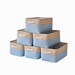 Canvas Storage Baskets Fabric Storage Bins Toy Storage Baskets Empty Gift Baskets Shelf Baskets Decorative Storage Basket Set with Cotton Rope Handles for Home Office