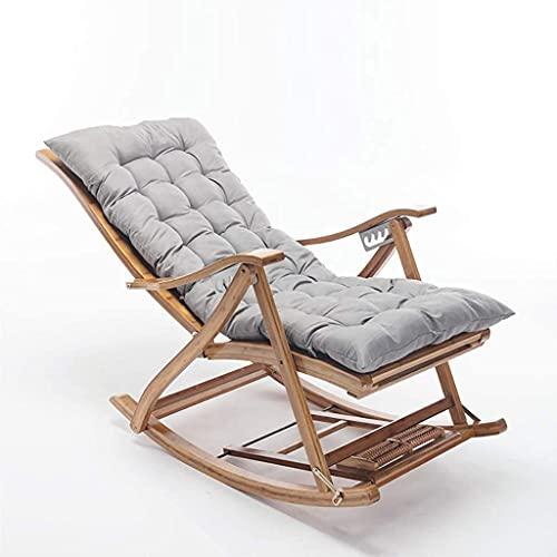 Gartenstuhl, Schwerelosigkeitsstuhl, Liegestühle, Liegestuhl Außenstuhl Bambus Schaukelstuhl mit Fußstütze, Armlehne und weichem Kissen, Liegestuhl Verwendet in