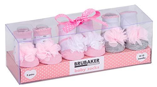 Brubaker 3 Paar Babysocken Mädchen 0-12 Monate - Tüllrüschen und Punkte
