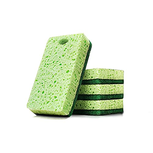 DSISI Pulpa de Madera Esponja de descontaminación de Doble Cara de algodón, Estropajo doméstico Esponjas para Fregar Esponja para Lavar Platos Esponja para Limpiar Ollas Espesamiento