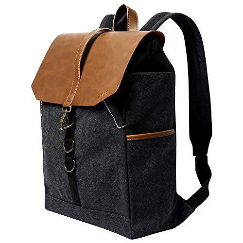 G-FAVOR Rucksack Damen Canvas PU Leder Laptop Rucksack Herren Daypack für Reisen Uni Schule Arbeit