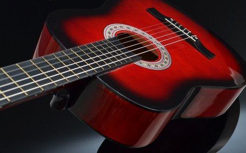 Ts-Ideen 5264 Akustik Gitarre Klassikgitarre Konzertgitarre mit Tasche, Gurt, Saiten und Plektrum rot/schwarz - 3