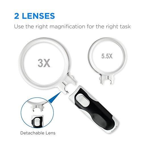 Fancii Handlupe Lupe mit LED Licht für Senioren, 3x 5x Fach (8 und 16 Dioptrien) – Beleuchtete Leselupe Starke Vergrößerung zum Lesen - 3