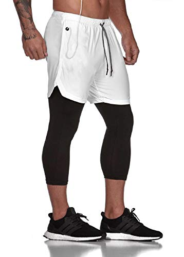 Tuopuda Pantaloncini Sportivi Uomo, 2 in 1 Pantaloncini da Palestra Fitness Shorts Estivi Pantaloni Corta con Tasche Foro per Cuffie Vita Elasticizzata Asciugatura Veloce, Bianca, M
