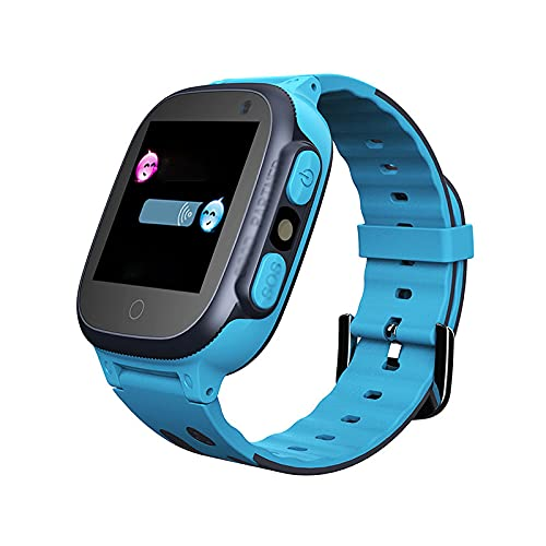 PYAIXF Reloj Inteligente, 1,44 Pulgadas Pulsera Inteligente Iluminación De Linterna Conversación Bidireccional Posicionamiento En Tiempo Real Una Clave De Ayuda por Niño-Blue