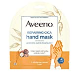 Aveeno Repairing CICA Hand Mask with Prebiotic Oat and Shea Butter for Extra Dry Skin, Paraben-Free and Fragrance-Free, 1 Pair of Single-Use Gloves (Pack of 5)