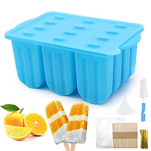 Popsicle Molds ,12 Cavities Silicone Popsicle Maker, Ice Pop Molds with 50 Wooden Sticks & 50 Parcel Bags & 50 Sealing Lines & Silicone Funnel & Cleaning Brush for DIY Ice Cream(Blue)