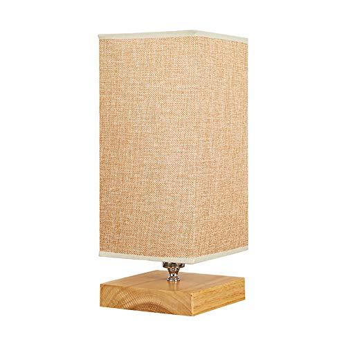 Tafellamp, lampenkap, stof, basis van hout, robuust, minimalistisch, tafellamp voor nachtkastje, slaapkamer, woonkamer