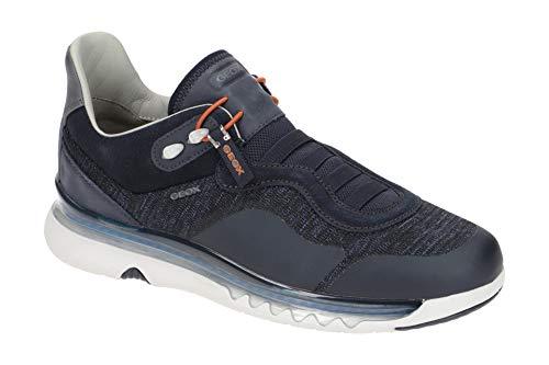 Geox Herren Sneaker LEVITA, Männer Slip-On Sneaker,lose Einlage, robust Men's Man Freizeit leger Halbschuh sportschuh Slipper,BLAU,44 EU / 10 UK