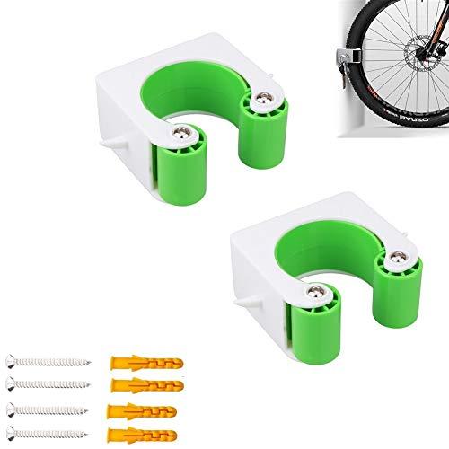 Ytesky 2 Pcs Fahrrad Wandhalterung,Fahrradhalter Wandhalterung für Mountainbike, Indoor wandhalterung fahrrad,Parkschnalle, Platzsparende(Grün)