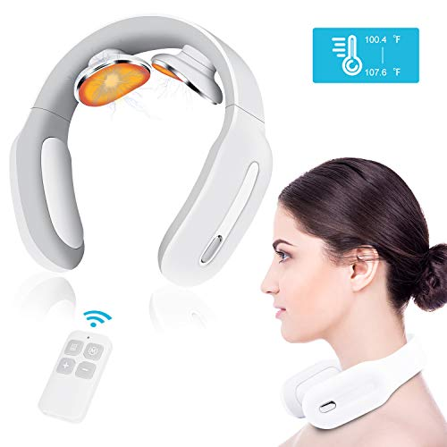 Pulse Neck Massager with Heated, 4D Smart Cordless Electric Massage Equipment 3 Modes and 15 Speeds...