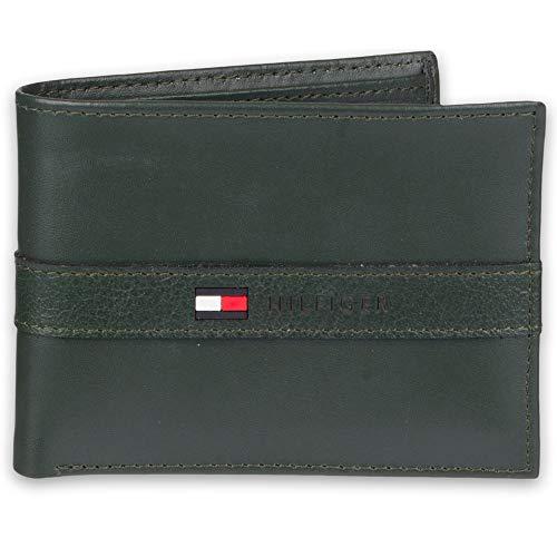 Tommy Hilfiger - Portafoglio da uomo con blocco RFID, 100% pelle, sottile, a due volte, colore: Marrone chiaro Verde scuro Taglia unica