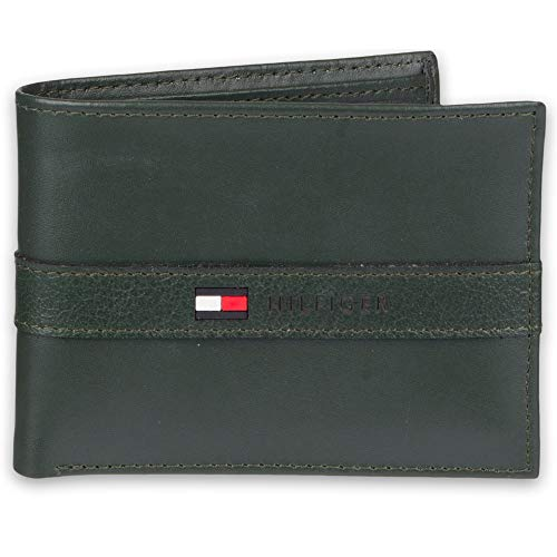 Tommy Hilfiger Men's Leather Wallet - Thin Sleek Casual Bifold with 6 Credit Card Pockets and Removable ID Window, Dark Green