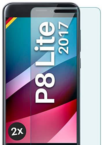 moex Panzerglas kompatibel mit Huawei P8 Lite 2017 - Schutzfolie aus Glas, bruchsichere Bildschirmschutz Folie, Crystal Clear Panzerglasfolie, 2X Stück