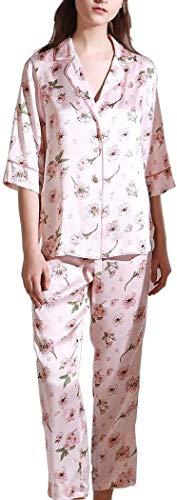 SCRT Pijama 100% Traje Media Manga de Seda Pijama de Seda de Las Mujeres de Split Set de 2 Unidades de Verano Pijamas Atractivos (Color : Pink, Size : Ms. XL)