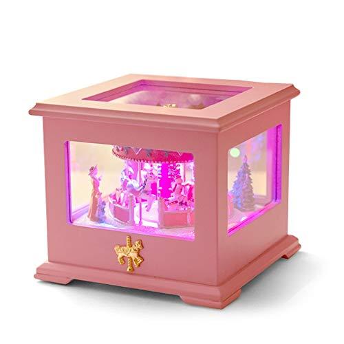 FABAX Cajas Musicales Caja de música Carrusel Music Box Square Luces de Lujo Que cambian de Color Luminoso Music Box Melody Girl (Castillo en el Cielo, Rosa) Regalo de cumpleaños