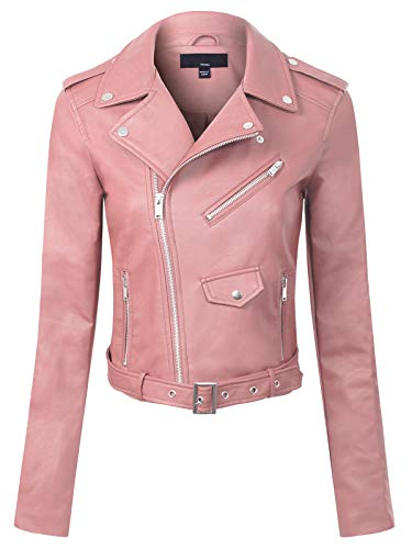 Design by Olivia Women's Classic Slim Fit Faux Leather Zip Up Biker Jacket Pink S