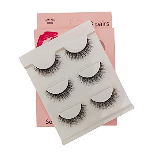 SHIDISHANGPIN 3 paires de cils Cils naturels 3D Essential Beauty Essentials Fluffy Faux Cils Maquillage Professionnel Épais Faux-Cils Réutilisables Fabriqués à la Main # G302