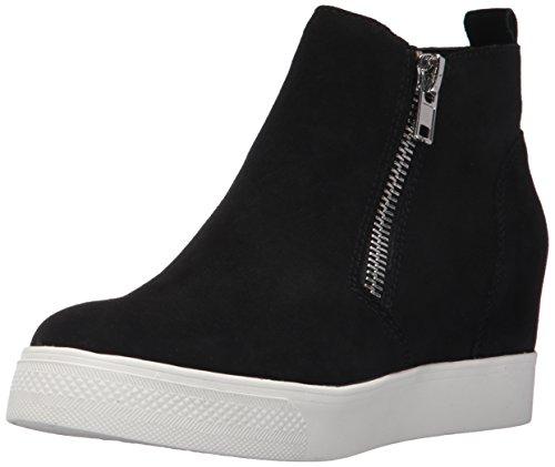 Steve Madden Women's Wedgie Sneaker, Black Suede, 8 M US