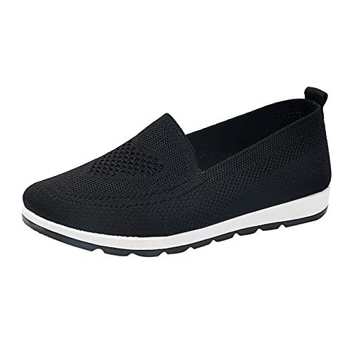 Woaikeyu Plates Baskets Femme sans Lacets Respirant Mesh Confortable Chaussures de Running Sport Tendances Fitness Sneakers Noir 37