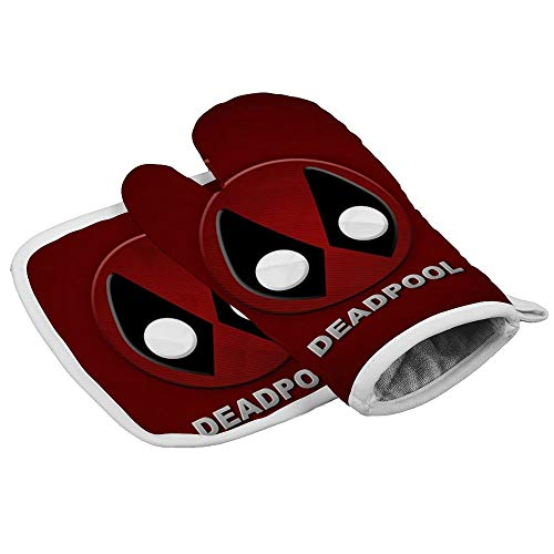 Xoees Chibi Deadpool Oven Mitt and Pot Holder Set Heat-Resistant Non-Slip 2 Pieces for Baking Training School BBQ Kitchen Decoration
