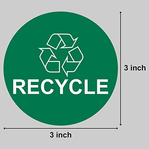 """Recycle Logo Recycling Circle Symbol Labels Round Self Adhesive Stickers (Green White / 3"""") - 300 Labels per Package Photo #2"""