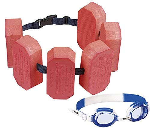 Beco - Schwimmgürtel, für 2-6 Jahre, 15-30 kg (rot + Schwimmbrille in blau)