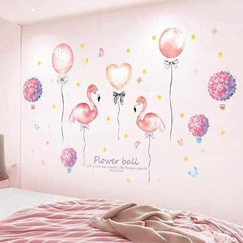 Nordic Style Muursticker Flamingo Hot Air Ballon Wings Eenhoorn Zwaan Schildpad Walvis Sterrenhemel Veer Home Decor