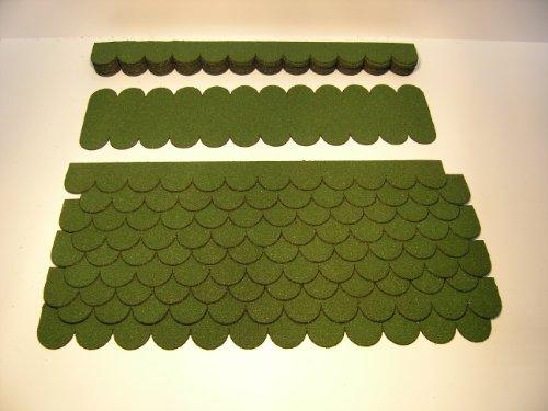 Mini Dachschindeln Rund (41 mm) - Set - Grün für Vogelhaus