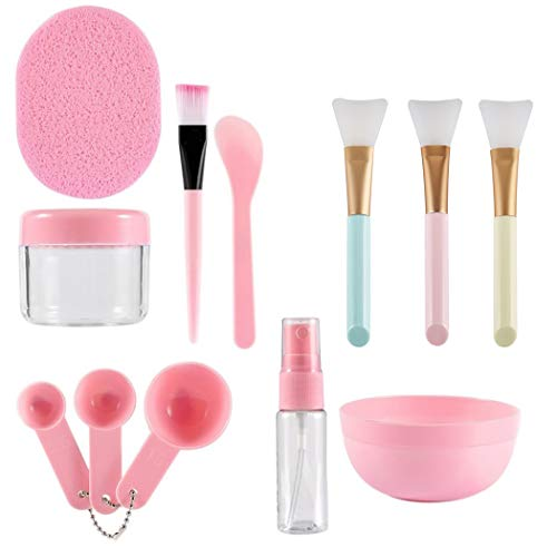 Face Mask Mixing Bowl Set, Coxeer 12Pcs DIY Facemask Mixing Tool Kit with Facial Mask Bowl Stick Spatula Silicone Face Mask Brush & Premium Soft Face Brushes,Pack of 12, pink