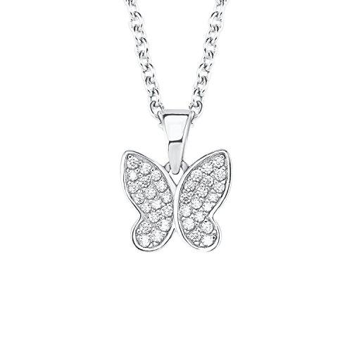 s.Oliver Mädchen Ketten mit Anhänger Schmetterling 925 Sterling Silber Zirkonia weiß