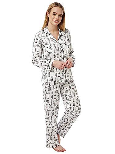 Damen Schlafanzug, 100 % gebürstete Baumwolle, kuschelig, für den Winter Gr. 46/48 DE, elfenbeinfarben