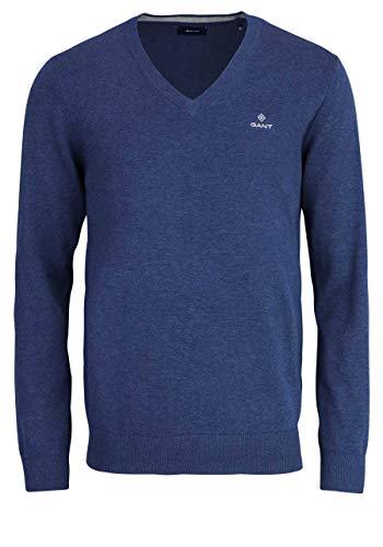 GANT Classic Cotton V-Neck Maglione, Dark Jeans Blue Melange, XS Uomo