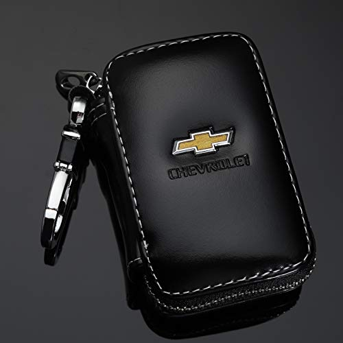 Tsisun Key Fob Cover Case for Chevrolet,Genuine Leather Car Smart Key Chain Metal Hook and Keyring Zipper Bag for Remote Key Fob