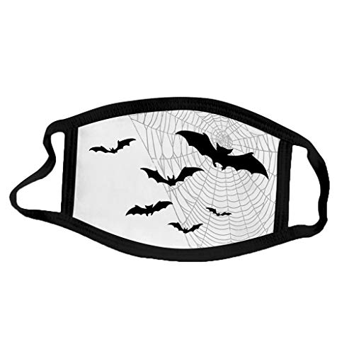 Face Balaclavas Unisex Mouth Cover Dustproof Windproof Anti-Spitting Protective Covering Washable Bandana Halloween Print Scarf Mdsk for Adult (H)