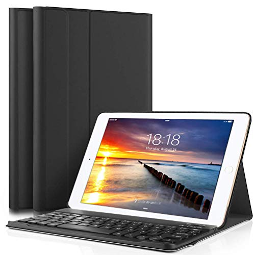 Lachesis iPad 10.2 2019 Custodia Tastiera(US Layout), Custodia con Wireless Staccabile Bluetooth Tastiera iPad 10.2(7th Generazione), Tastiera Custodia per iPad 10.2 2019(A2197   A2198   A2200)