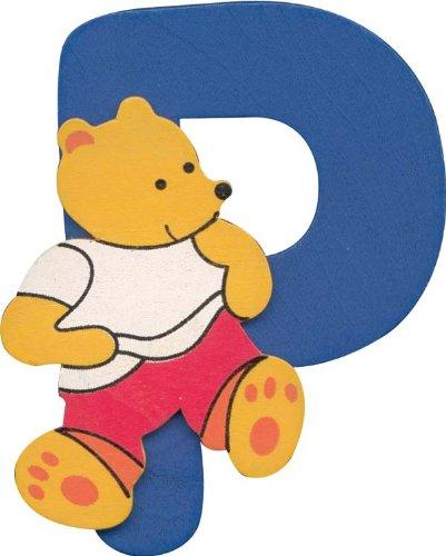 Alphabet Lettre P en Bois avec design ourson