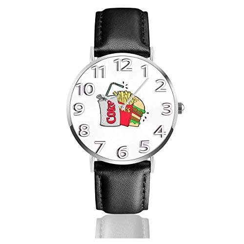 Uhr Armbanduhr Junk Food und eine Diät Cola Classic Casual Quarz Schwarz Lederarmband Uhr Business-Uhren