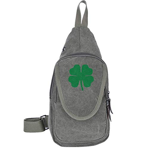 Green 4-Leaf Clover Canvas Chest Bag for Walking Wandern Casual Backpack for Men & Women Coffee