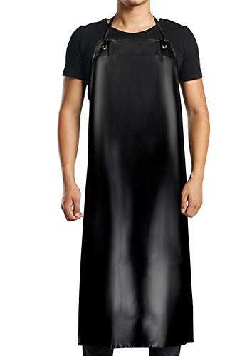 NANOOER Heavy Duty Vinyl Rubber Waterproof Apron Durable Ultra Lightweight Extra Long Black - Industrial Grade Material for Ultimate Protection (Black, One Size)
