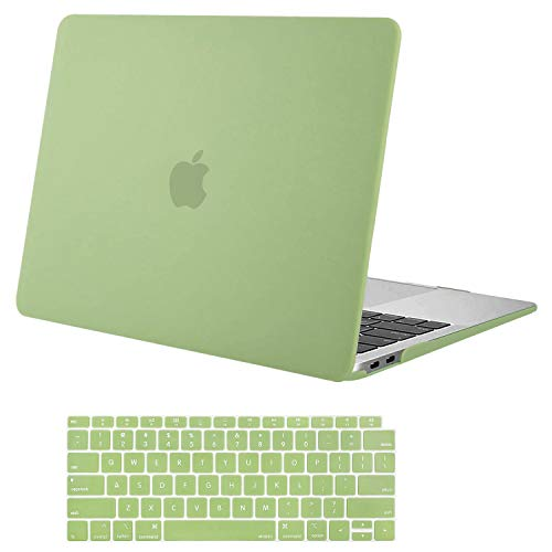 MOSISO Compatible with MacBook Air 13 inch Case 2020 2019 2018 Release A2337 M1 A2179 A1932 Retina Display with Touch ID, Protective Plastic Hard Shell Case & Keyboard Cover Skin, Avocado Green