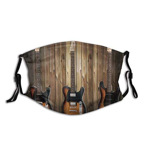 Mundschutz Musikinstrumente Gitarre auf rustikalem Holzbrett WesternUnisex Cotton Mund Gesicht Abdeckung Mund Abdeckung