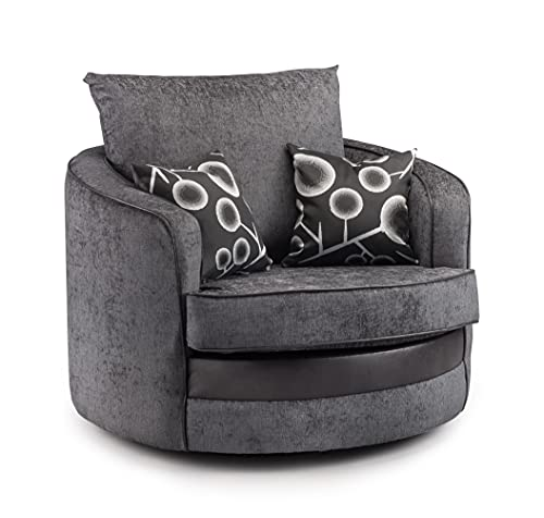 Honeypot - Sofa - Shannon - 3 Seater - 2 Seater - Armchair - Swivel chair - Corner - Black - Fabric (Swivel Chair)
