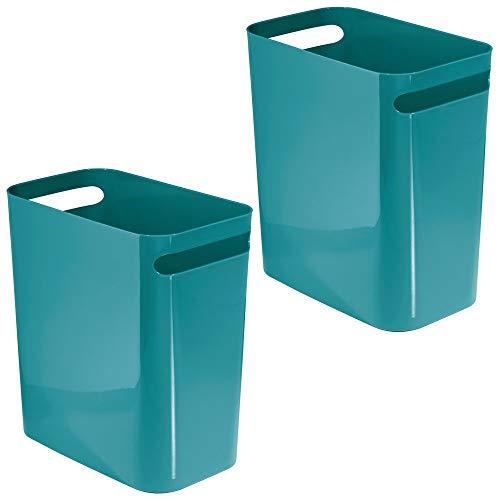 mDesign Slim Plastic Rectangular Large Trash Can Wastebasket, Garbage Container Bin with Handles for Bathroom, Kitchen, Home Office, Dorm, Kids Room - 12