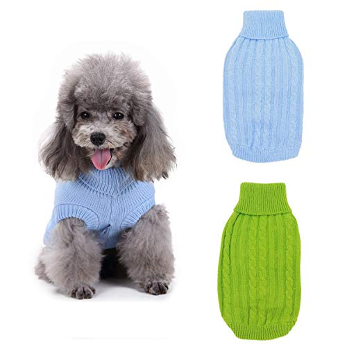 2PCS TOLOG Pet Dog Sweaters Winter Warm Puppy Clothes Knitted Sweater Outfit Apparel for Small Medium Unisex Doggie S