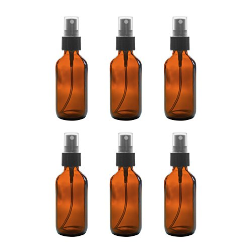 2 oz Amber Boston Round Glass Bottle with Fine Mist Sprayer Dispenser for Essential Oils, Chemistry Lab Chemicals, Colognes & Perfumes (6 Pack)